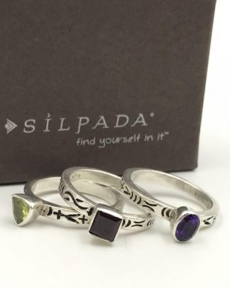 Silpada Amethyst Peridot Garnet 925 Sterling Silver Stack Ring Set