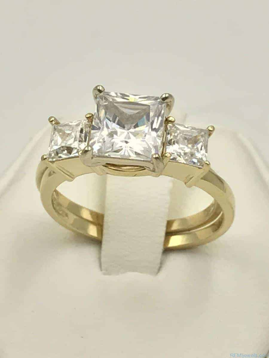 Yellow Gold 14k Three Stone Engagement Ring Wedding Band