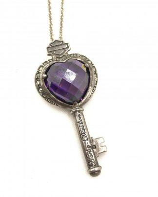 Harley-Davidson Women's Purple Heart Stone Key Necklace
