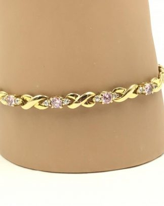 Ladies Sterling Silver Gold Plated Pink Clear Forever Bracelet
