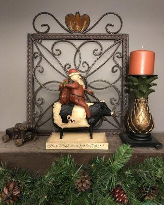 August Moon Dan DiPaolo Santa on a Cow Figurine 2003