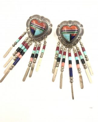 Vintage Handcrafted QT Sterling Inlaid Turquoise Multi Gemstone Earrings