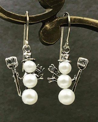 Christmas Sterling Silver Triple Pearl Snowman Earrings, Hat Scarf Shovel