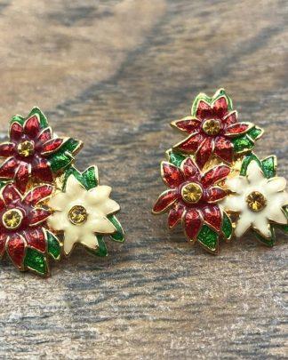 Christopher Radko Poinsettia Flower Red White Green Christmas Earrings