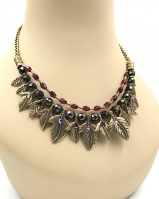 CHICO'S Leaves Berries Necklace Brass Tone Leafs Beads Rhinestones