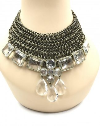 CHICO's Ornate Mesh Multi Chain Link Enormous Rhinestones Necklace