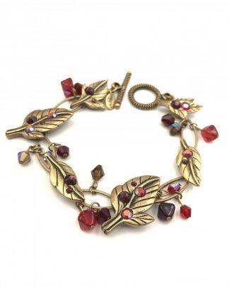 CHICO'S Bracelet Leaves Berries Brass Tone - Red Rhinestones
