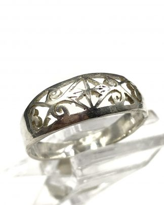 Sterling Silver Filigree Band Tapered Design Ring 8 Signed 925