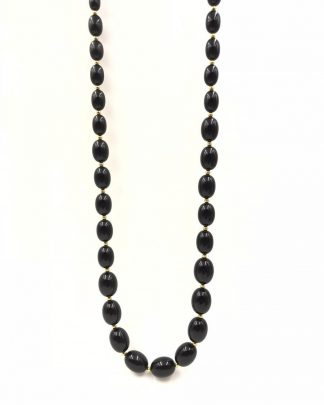 Vintage Monet Black Faceted Lucite Graduated Oval Beads Necklace (28 IN) on Gold Tone Chain