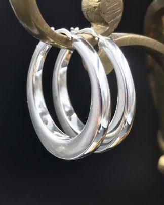 Milor ULTRAFINE Sterling Silver 950 Large Hollow Hoop Earrings