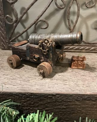 unique Vintage REAL MARINA ESPANOLA SIGLO XVIII Wood & Brass Cannon