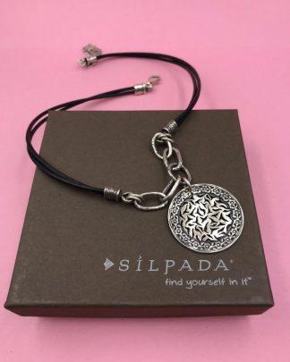 SILPADA Leather Sunburst Sterling Silver Necklace N1711 Retired ISRAEL - 925