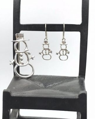 Dakota West Sterling Silver Jewelry Snowman Earrings Brooch, Hat Scarf - Signed 925 © $