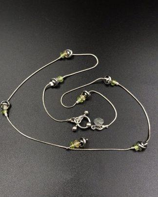 """Vintage Medigo Sterling Silver 925 Designer Green Bead Charm Necklace 19"""""""