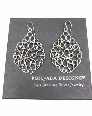 Silpada Sterling Silver Woven Mesh Teardrop Chain Link Earrings W2157