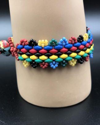 Handmade Multi Colored Red Green Blue Black Colorful Bead Bracelet