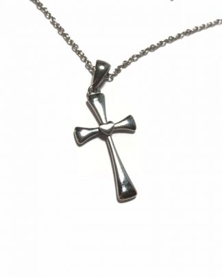 Women's Lovely Stainless Steel Cross Brushed Heart Pendant Necklace