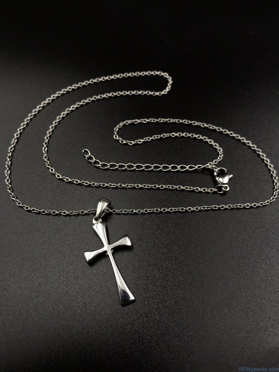 Women S Lovely Stainless Steel Cross Brushed Heart Pendant