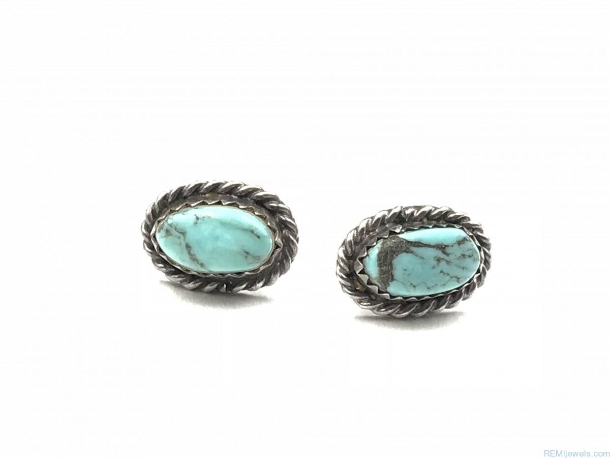 real detail stud turquoise product rope blue vintage earrings sterling img silver
