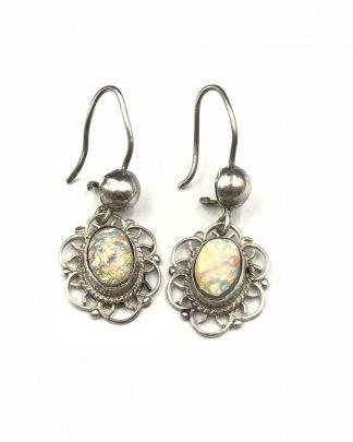 Vintage Opal Cabochon Sterling Silver Dangle Earrings Filigree Detail