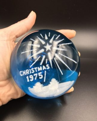 Vintage 1975 Wheaton Village Art Glass Christmas Blue Paperweight Round Signed