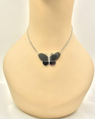 Avon Vintage Butterfly Necklace Gold Silver Tone - Butterflies - Polished