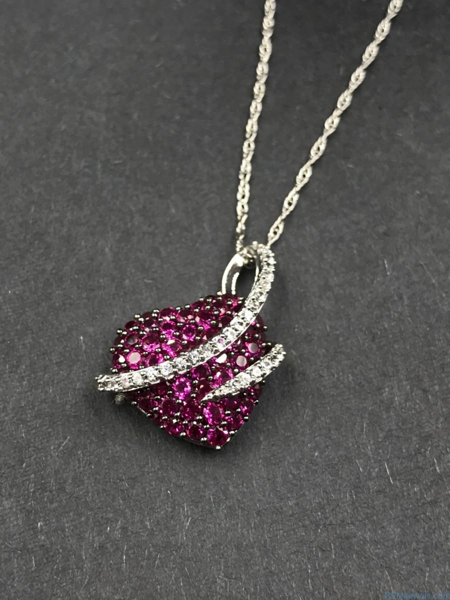 Sterling silver ruby micro pave puffed heart love pendant necklace sterling silver ruby micro pave heart crystal love pendant necklace 18 aloadofball Gallery