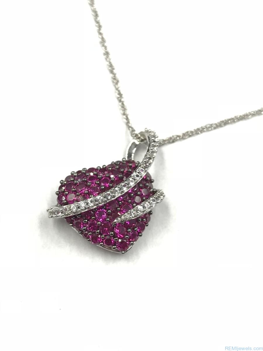 Sterling silver ruby micro pave puffed heart love pendant necklace sterling silver ruby micro pave heart crystal love pendant necklace 18 aloadofball Choice Image