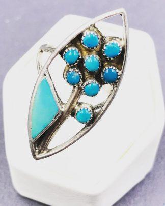 Vintage Zuni Turquoise Flower Sterling Silver Ring Signed W&V Sanchez Size 7