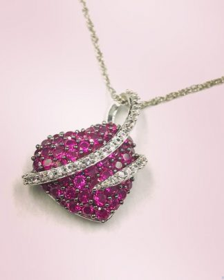 """Sterling Silver Ruby Micro Pave Puffed Heart Love Pendant Necklace 18"""" Crystal Accent"""