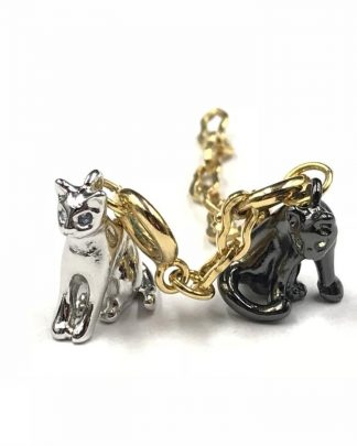 Joan Rivers Noah's Ark Cat Pair Charms Silver Black Tone Pendant Classic Collection with Extender
