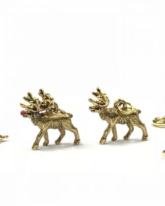 Joan Rivers Antiqued Gold Tone Reindeer Red Nose Noah's Ark Charms