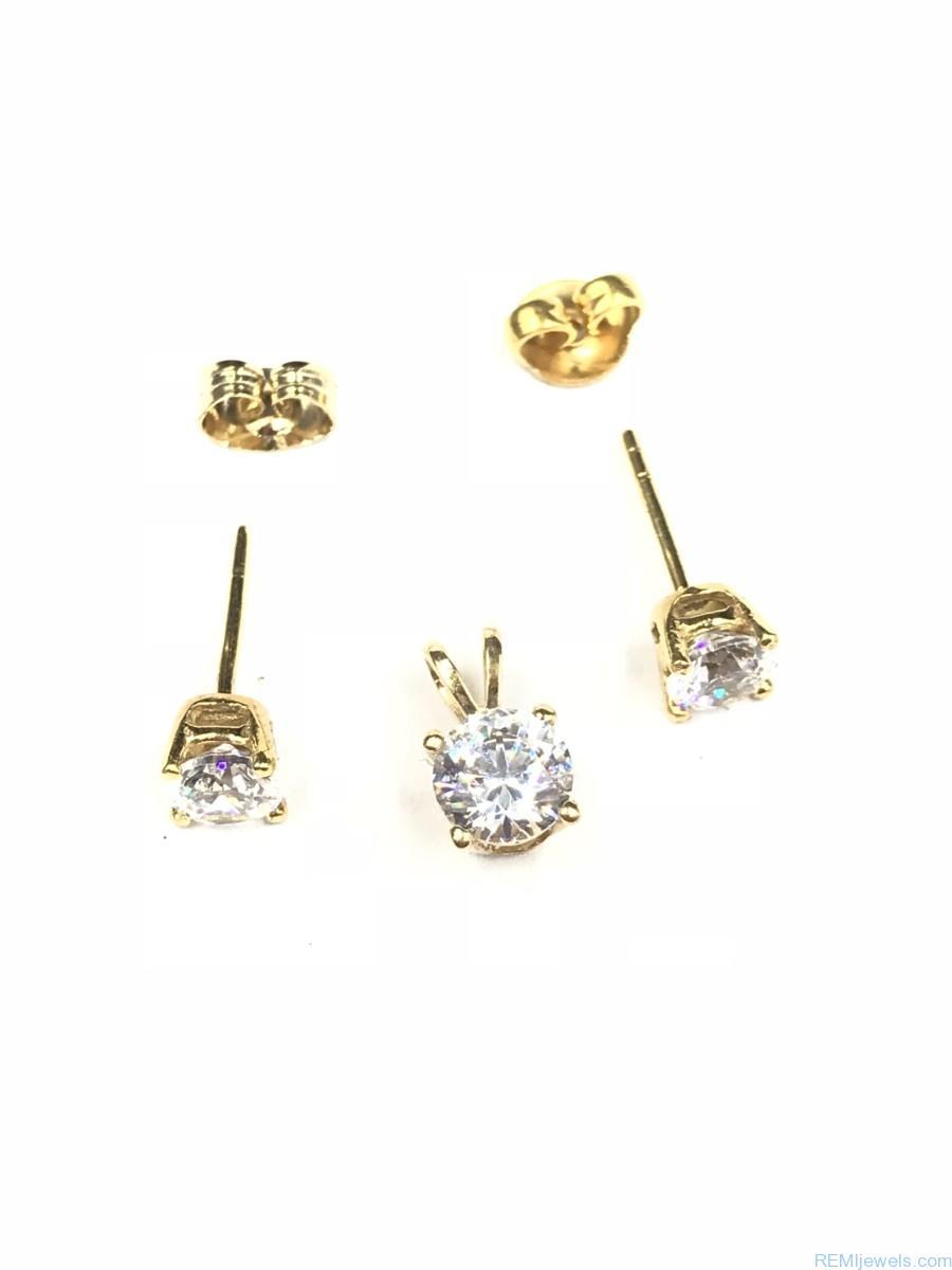 Nina Rossini 14 K Yellow Gold Cz Earrings Matching 14k Pendant Set