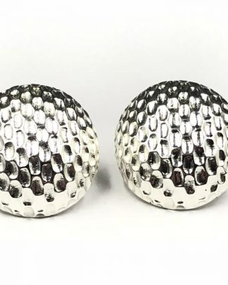Joan Rivers Silver Tone Oval Dome Textured Post Fashion Earrings with Original Box