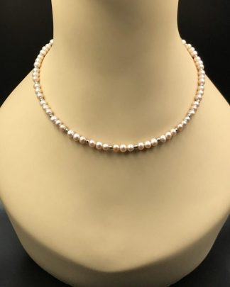 14K White Gold IWI Designer Pink Pearl Necklace