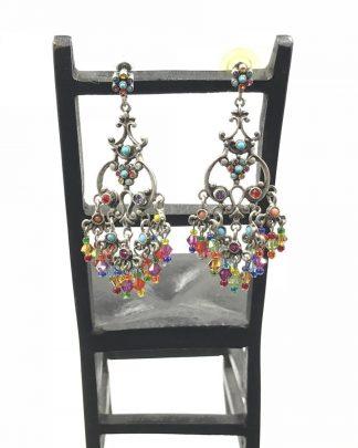 GRAZIANO Couture Chandelier Dangle Statement Earrings Jade Bead