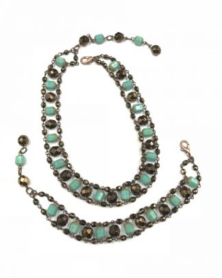 Beaded Multi-Layer Blue Dark Brown Tone Bead Bracelet Necklace Set
