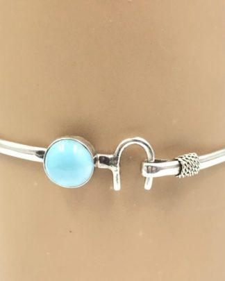 Sterling Silver Blue Cabochon Stone Horseshoe Cuff Bangle Hook Bracelet