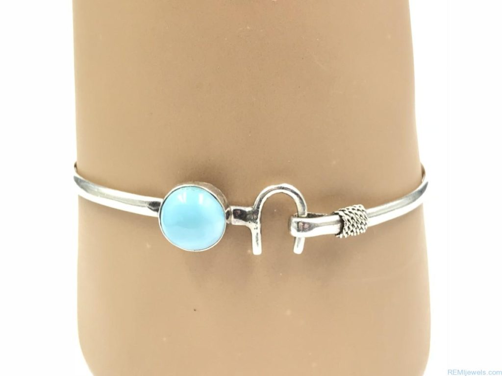 Sterling Silver Blue Cabochon Stone Horseshoe Cuff Bangle Hook Bracelet