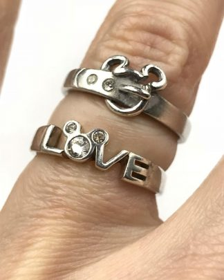 Two Disney Authentic Sterling Silver Mickey Mouse Love Belt Crystal Rings Size 7
