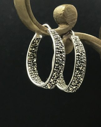 Thailand Sterling Silver Marcasite Stone Hoop Earrings Signed A925- Polished