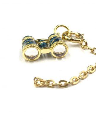 Joan Rivers Gold Plated Blue Enamel Binoculars Charm Pendant