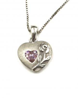 """Sterling Silver Purple Amethyst Puffed Heart Love Pendant Necklace 18"""" Flower Accent"""