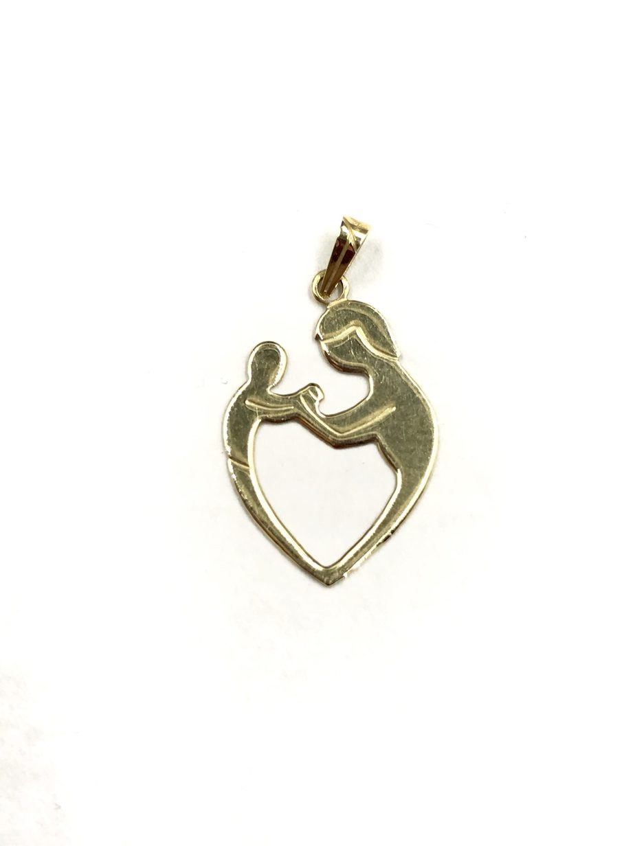 gold silver yellow child sterling pendant over mother l heart