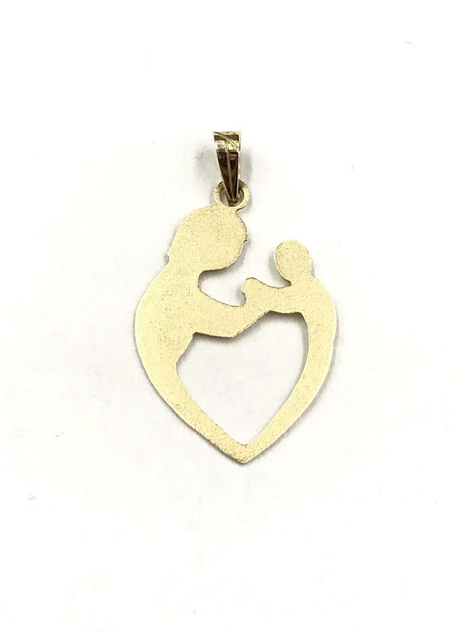 Vintage 14k shiman yellow gold mother child heart pendant aloadofball Images