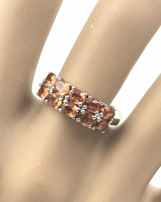 Exotic Jewelry Round Orange Sterling Silver Band Ring Size 6 Signed STS 925