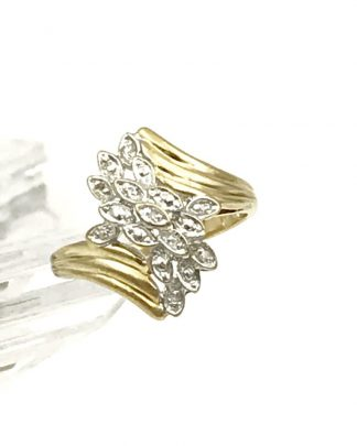 Yellow Gold Diamond Cluster Ring 10k Cocktail Accent High Setting Sz 7