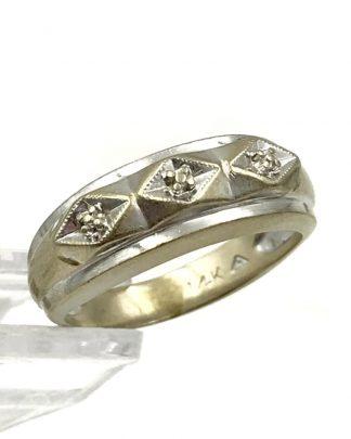 Wedding Band Size 6.5 14k White Gold 7mm Fancy Ring 4.7g