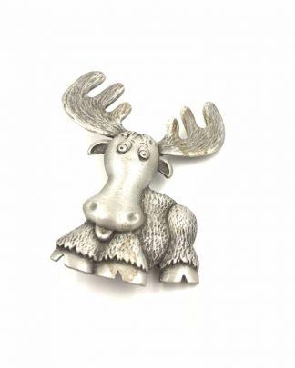 JJ Jonette Jewelry Silver Pewter Cartoon Moose Pin