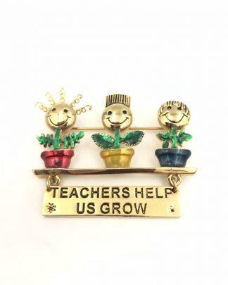 Danecraft Teachers Help Us Grow Brooch Pin Enamel Gold Tone